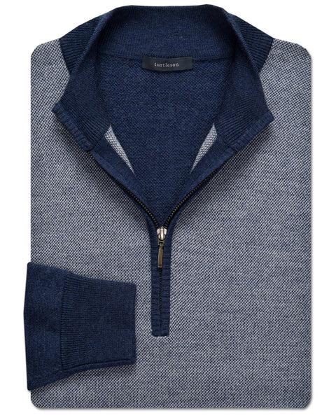 Colby Oxford-Stitch Merino Wool Quarter-Zip Sweater - turtleson