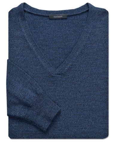 Merino Mouline Shawl V-Neck Sweater - turtleson