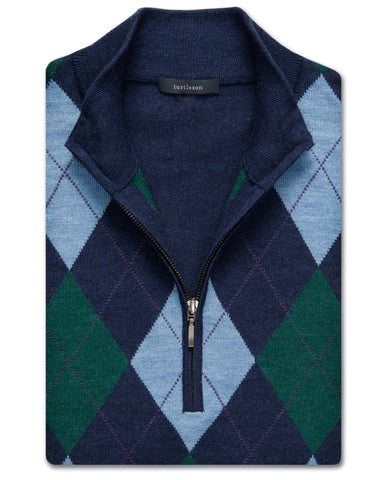 Plato Argyle Quarter-Zip Sweater Vest - turtleson
