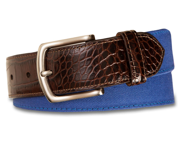 Canvas Belt with Embossed Croc Tab - turtleson