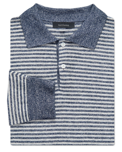 Striped Linen-Cashmere 2-Button Sweater