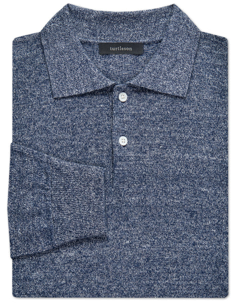 Solid Linen-Cashmere 2-Button Sweater