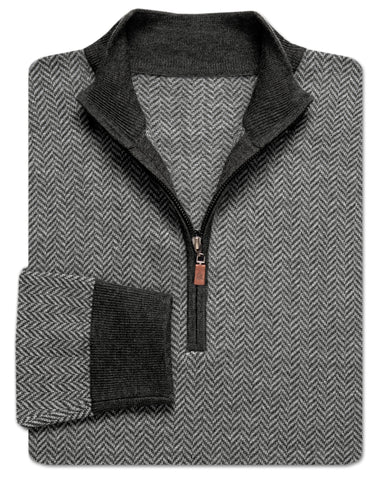 Kane Donegal Herringbone Quarter-Zip Sweater