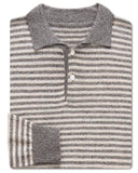 Rowan Stripe Luxe-Blend Polo Sweater