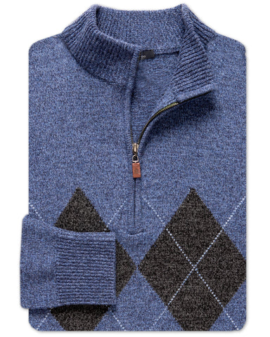 Boulder Argyle Rag-Wool Quarter-Zip Sweater