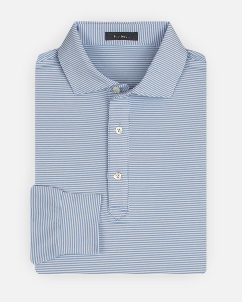 Carter Stripe Performance Polo, Long Sleeve