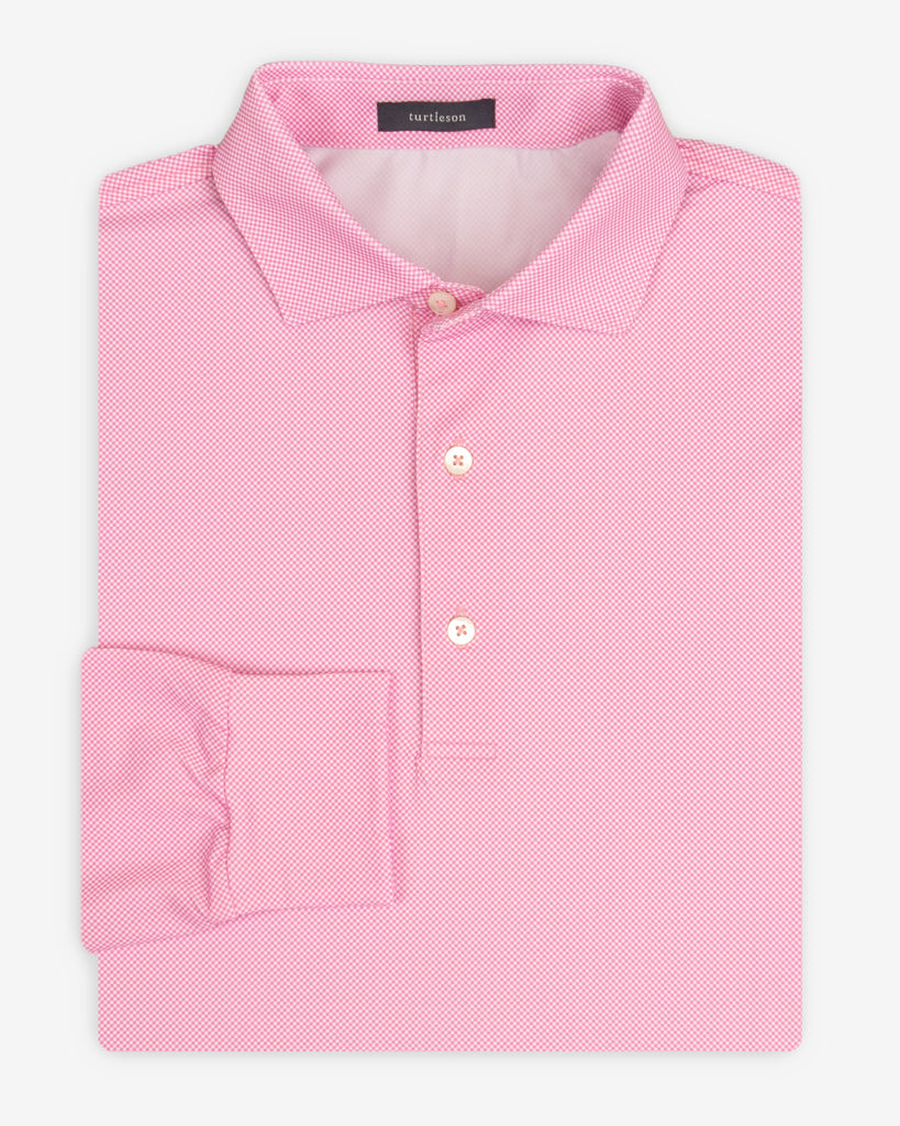 Beckett Check Performance Polo, Long Sleeve