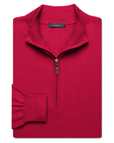 Pima Quarter-Zip Sweater