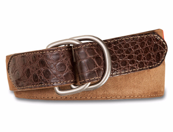Suede D-Ring Belt with Caiman Croc Tab - turtleson