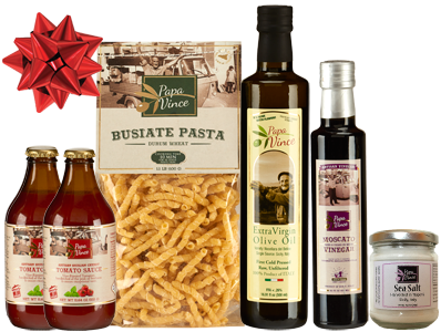 Bronze Gift Set Durum - 6 Farm Fresh Items from Artisans in Sicily, Italy. Extra Virgin Olive Oil, Moscato Balsamic Vinegar, Busiate Durum Pasta, Cherry Tomato Sauce, Sea Salt from Trapani