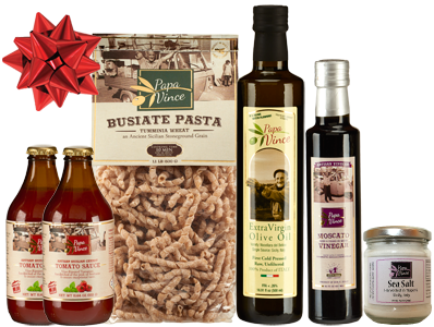 Bronze Gift Set Tumminia - 6 Farm Fresh Items from Artisans in Sicily, Italy. Extra Virgin Olive Oil, Moscato Balsamic Vinegar, Busiate Tumminia Pasta, Cherry Tomato Sauce, Sea Salt from Trapani.