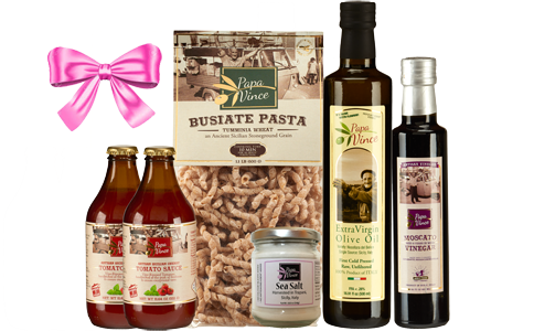 Christmas Gift Set Tumminia - 6 Farm Fresh Items from Artisans in Sicily, Italy. Extra Virgin Olive Oil, Moscato Balsamic Vinegar, Busiate Tumminia Pasta, Cherry Tomato Sauce, Sea Salt from Trapani.