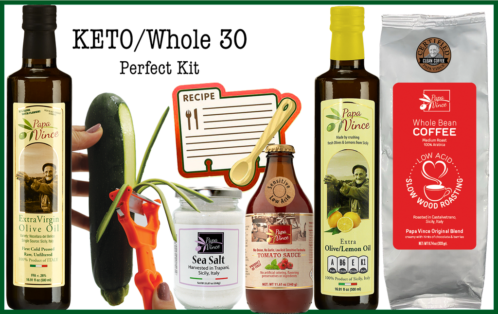 The Perfect Keto Kit - Extra Virgin Olive Oil Original & Lemon, Trapani Sea Salt, Tomato Sauce, Coffee, Vegetable Peeler HANDHELD ALL IN ONE Stainless Steel Kitchen Tool + Recipes