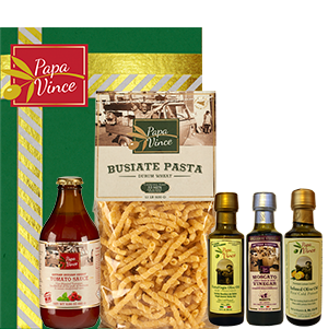 SET11 - A BIT OF SICILY - 5 Farm Fresh Items from Artisans in Sicily, Italy. Extra Virgin Olive Oil, Moscato Balsamic Vinegar, Lemon Infused Oil 3 fl oz each | Busiate Durum Semolina Pasta 1.1 lb | Cherry Tomato Sauce 11.61 oz