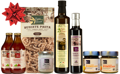 Silver Gift Set Tumminia - 8 Farm Fresh Items from Artisans in Sicily, Italy. Extra Virgin Olive Oil, Moscato Balsamic Vinegar, Busiate Pasta, Cherry Tomato Sauce, Sea Salt from Trapani, Lemon & Orange Marmalade