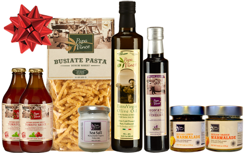 Silver Gift Set Durum - 8 Farm Fresh Items from Artisans in Sicily, Italy. Extra Virgin Olive Oil, Moscato Balsamic Vinegar, Busiate Pasta, Cherry Tomato Sauce, Sea Salt from Trapani, Lemon & Orange Marmalade