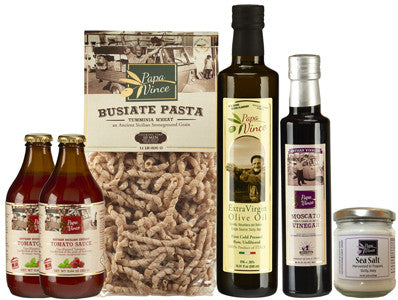 Father's Day Combo 2 - 6 Farm Fresh Items from Artisans in Sicily, Italy. Extra Virgin Olive Oil, Moscato Balsamic Vinegar, Busiate Homemade Pasta, Cherry Tomato Sauce, Sea Salt from Trapani.