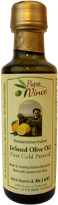 Papa Vince Infused Lemon Olive Oil - First Cold Pressed, Family Harvest Dec 2016, Sicily, Italy | Rich in Vitamins A, B6, E & K1 | Artisan, Unrefined | 3 fl oz [5-Pack]