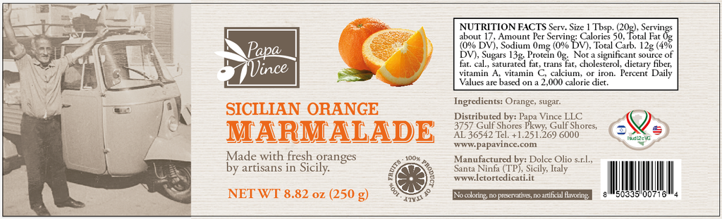 TA06 - A Morning in Sicily - Orange and Lemon Marmalade Preserve made by our family with locally grown oranges and lemons in Sicily, Italy - NO ARTIFICIAL FLAVORING | NO PRESERVATIVES | NO COLORING | NO CONCENTRATES | 8.82 oz each 4Pack