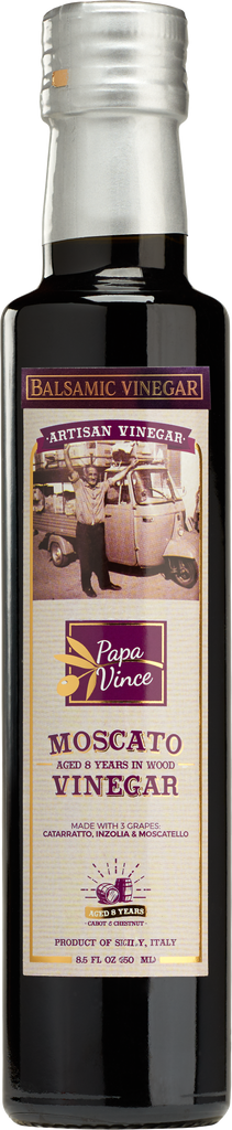 Balsamic Vinegar Red Wine Moscato - with hints of Figs, Raspberry & Homemade Wine aged 8-years in Oak & Chestnut wood in small batches by our family from Sicily, Italy | 8.5 fl oz - Papa Vince