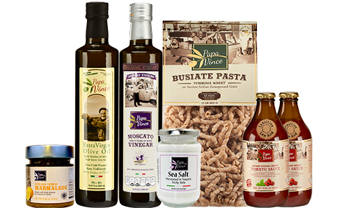 Clean Food Basket from Sicily Gift - Farm Fresh Gourmet Items from Italy. Extra Virgin Olive Oil, Moscato Balsamic Vinegar, Tumminia Busiate Pasta, Cherry Tomato Sauce, Orange Marmalade, Trapani Sea Salt | Papa Vince