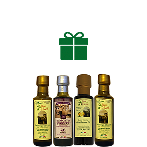 Infused Olive Oil Set from Sicily - Gift made by our family in Sicily, Italy | extra Virgin Lemon Oil, Rich in Vitamins | Balsamic Vinegar aged 8-years in Wood | Extra Virgin Olive Oil First Cold Pressed, Harvest Dec 2016 | Papa Vince | 3 fl oz each