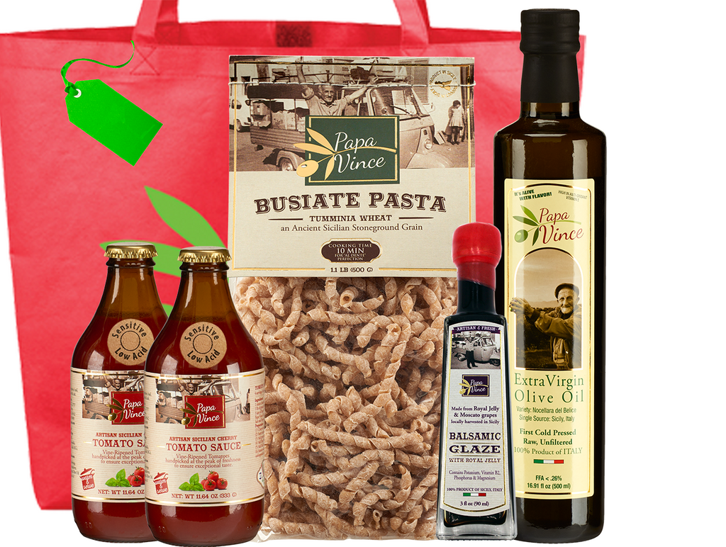 Gourmet Clean Food Basket from Sicily Gift - Farm Fresh Food from Italy | Extra Virgin Olive Oil, Balsamic Glaze, Busiate Tumminia Pasta, Cherry Tomato Sauce | Papa Vince