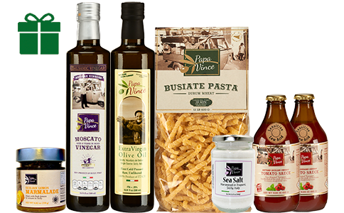 Food Basket Gift from Sicily - Clean Food Farm Fresh Items from Italy. Extra Virgin Olive Oil, Moscato Balsamic Vinegar, Busiate Pasta, Cherry Tomato Sauce, Lemon Marmalade, Trapani Sea Salt | Papa Vince