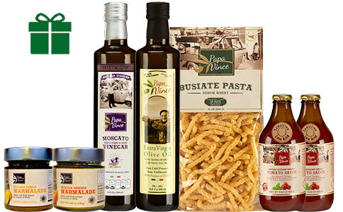 Food Basket Gift from Sicily - Clean Food Farm Fresh Items from Italy. Extra Virgin Olive Oil, Moscato Balsamic Vinegar, Busiate Pasta, Cherry Tomato Sauce, Lemon & Orange Marmalade | Papa Vince
