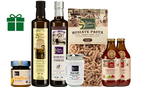 Clean Food Basket from Sicily Gift - Farm Fresh Gourmet Items from Italy. Extra Virgin Olive Oil, Moscato Balsamic Vinegar, Tumminia Busiate Pasta, Cherry Tomato Sauce, Lemon Marmalade, Trapani Sea Salt | Papa Vince