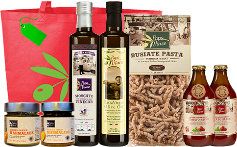 Clean Food Basket from Sicily Gift - Farm Fresh Gourmet Items from Italy. Extra Virgin Olive Oil, Moscato Balsamic Vinegar, Tumminia Busiate Pasta, Cherry Tomato Sauce, Lemon & Orange Marmalade | Papa Vince