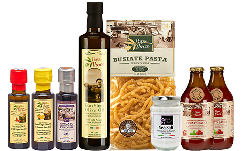 FOOD GIFT BASKET made by our family in Sicily from Gourmet ingredients grown in Italy. Ancient Grain Pasta, Low Acid Tomato Sauce, No Sugar Pectin, Olive Oil, Balsamic. VEGAN, KETO. No Pesticide