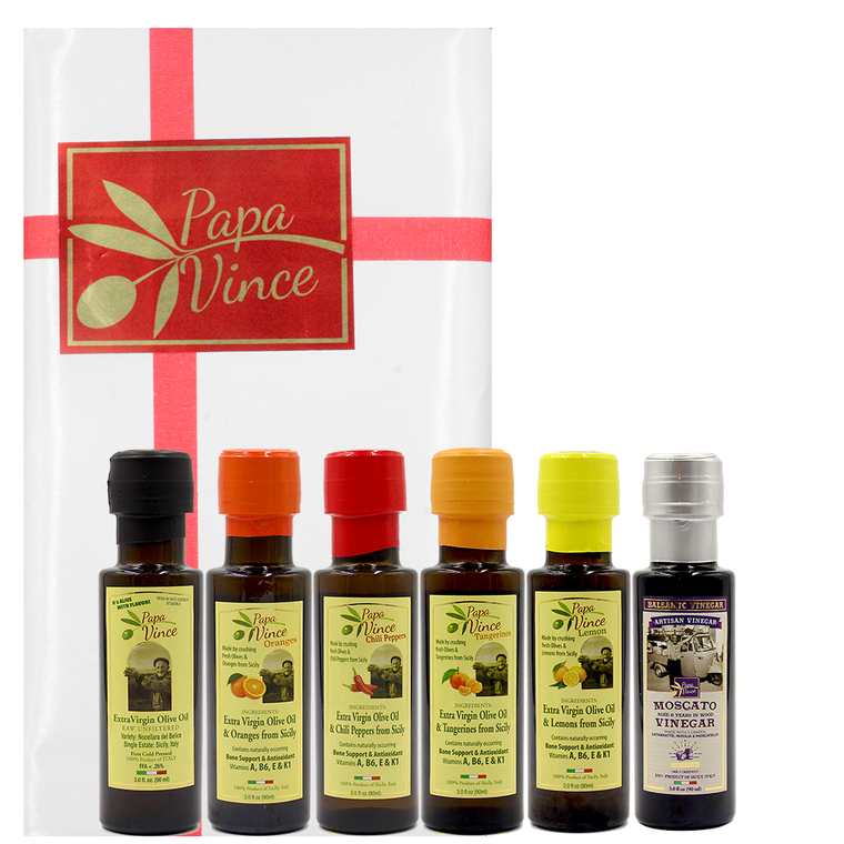 Flavored Olive Oil Extra Virgin Set from Sicily - Chili Pepper, Orange, Tangerine, Lemon, Classic Agrumato Olive Oil Gift Set with Balsamic Vinegar | Papa Vince | 3 fl oz each