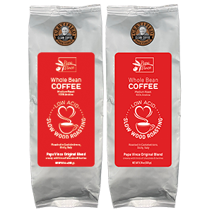 Papa Vince Clean Coffee Whole Bean - High Altitude, No Pesticides, No Mycotoxins, Non GMO, Low Acid, Rich in antioxidants, Slow Fired Wood Roasted in Sicily Italy by local artisans since 1966 - 12 oz 2-Packs
