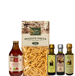 Mediterranean Clean Food Basket from Sicily Gift- Farm Fresh Gourmet Items made by our family in Italy | Extra Virgin Olive Oil Harvest Dec 2016 | Moscato Balsamic Vinegar Aged 8-years | Lemon Infused Oil, Rich in Vitamins | Ancient Grain Busiate Durum Semolina Pasta | Low Acid Cherry Tomato Sauce | Papa Vince
