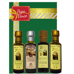 Papa Vince Olive Oil Extra - Virgin Infusion Set | Lemon Oil | Balsamic Vinegar aged 8-years in wood | Extra Virgin Olive Oil from our family in Sicily, Italy | 3 fl oz each