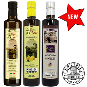Olive Oil Set from Sicily - Extra Virgin Olive Oil & Moscato Balsamic Vinegar & Lemon Extra Virgin Olive Oil Gift | Papa Vince | 16.91 fl oz each