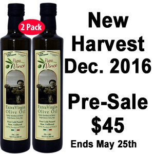 PRE-SALE ONLY 2017 Harvest Extra Virgin Olive Oil - 2-Pack of Large 16.9 fl oz - Projected Shipping Date May 25 2017
