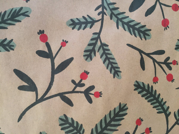 Winter Greenery Recycled Wrapping Paper