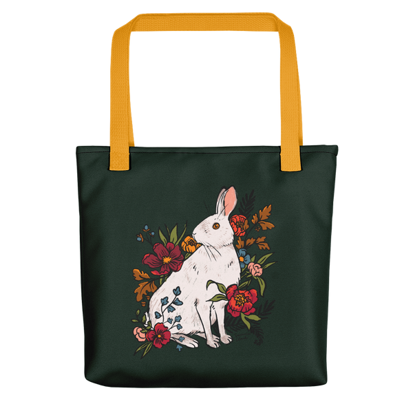 Snowshoe Hare Forest Green Tote Bag