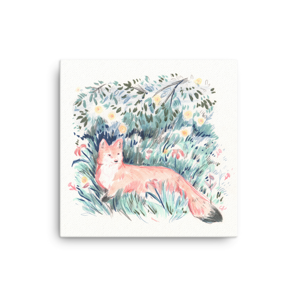 Fox in the Meadow Canvas Print