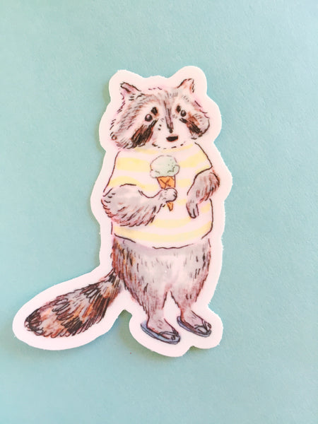 Ice Cream Raccoon Sticker