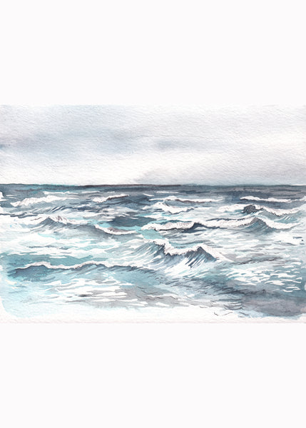 """Silver Sea"" Ocean Watercolor Print"