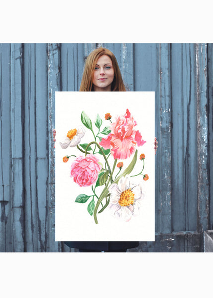Large Sunny Floral Poster