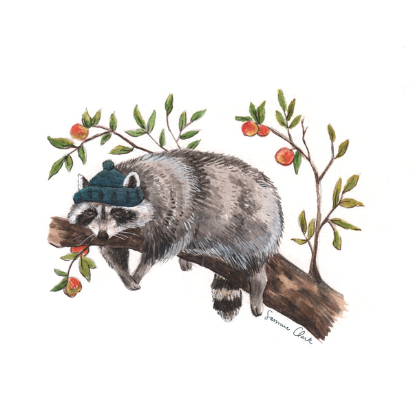 Sleepy Raccoon Print