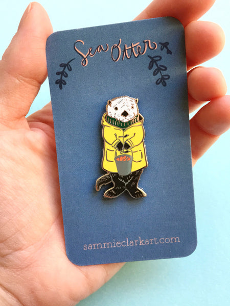 Charles the Sea Otter Pin