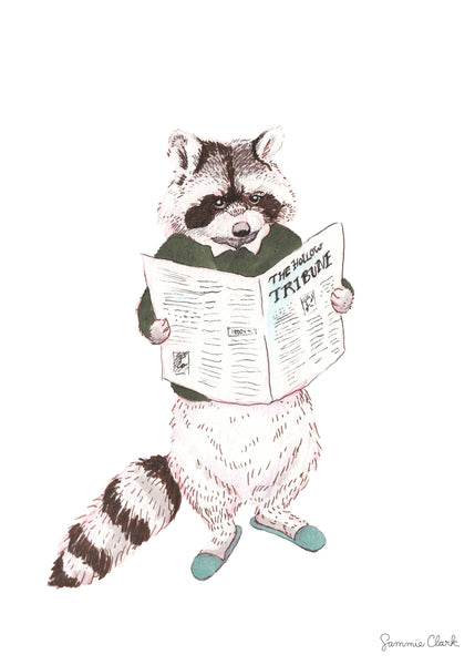 The Tribune Raccoon Print