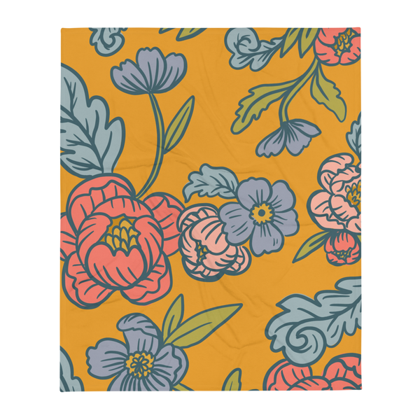 Yellow Floral Blanket