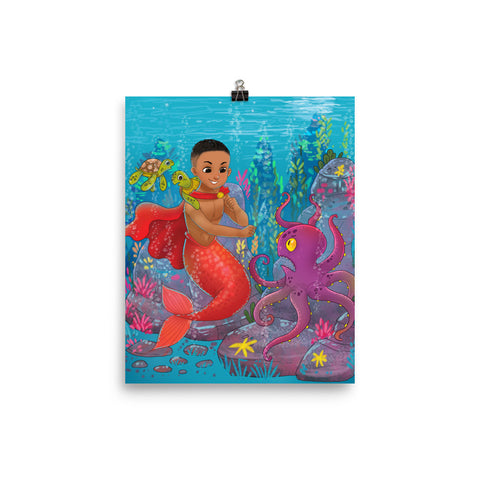 Qadir the Mermaid Photo paper poster
