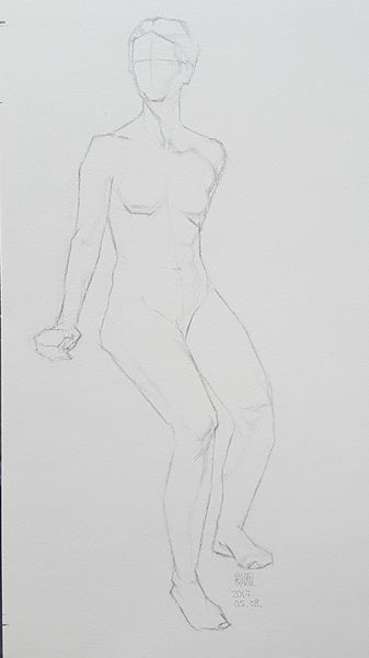 life model drawing short pose sitting
